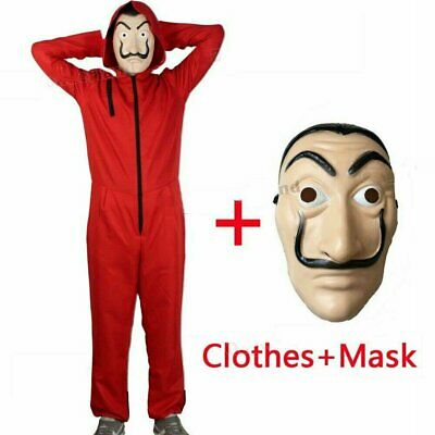 Salvador Dali Money Heist The House of Paper Cosplay Costume Jumpsuit +Mask Set