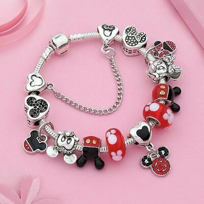 European 925 Silver Charms Bracelet with Silver Disney Mickey Minnie Beads 2019