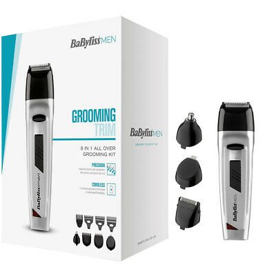Babyliss Men 8 IN 1 Grooming Kit/Body Hair Clipper/Beard Trimmer/7056NU/Silver
