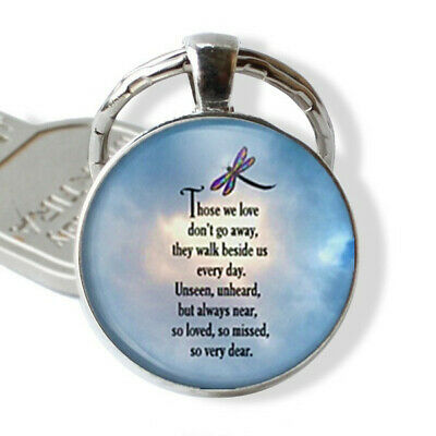 Dragonfly So Loved Poem Photo Cabochon Glass Tibet Silver Pendant Keychain