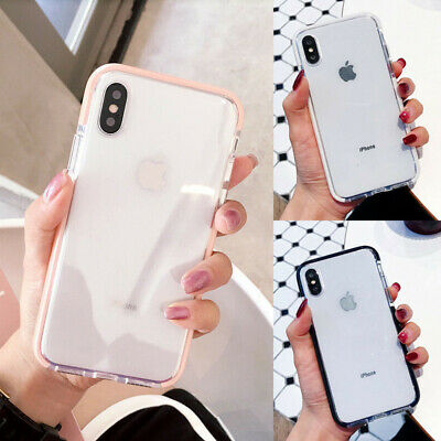 Shockproof Silicone Bumper Clear Soft Case Cover For iPhone X XR XS Max 8 7 Plus