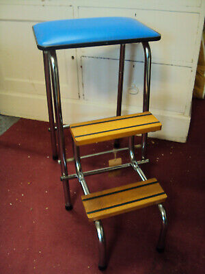 Wondrous Vintage Folding Stool Retro Wood 1970S Moquette High Tall Pdpeps Interior Chair Design Pdpepsorg