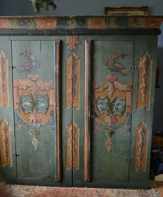 Vintage Antique Painted Armoire Wardrobe Cupboard Austrian Folkart Furniture