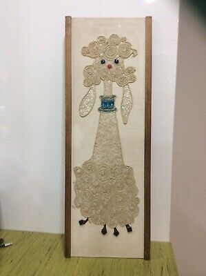 Mid Century Modern Vintage Poodle Pebble Gravel Wall Art Home Decor