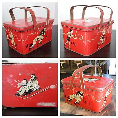 Vintage Antique Red Metal Lunch Box Inside Tray Hinged Handles Children Sports