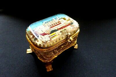 Vintage Ring Jewelry Box French Amboise Chateau Red Antique Ormolu Glass France