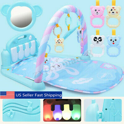 3 in 1 Baby Kids Cute Playmat Musical Pedal Piano Toy Activity Fitness Gym Mat
