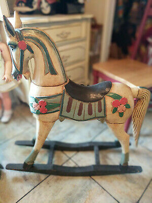 Large Wood Vintage Rocking Horse 34 high Hand Painted and Carved 1950's