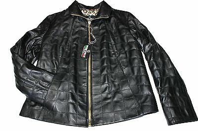Italian Handmade Women Lambskin Leather Quilted Jacket Black Comfort Fit Size S