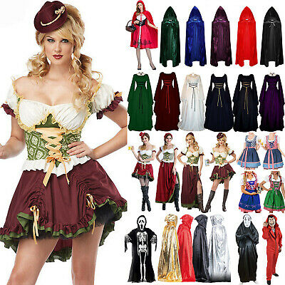 Womens Mens Halloween Costume Fancy Dress Adult Carnival Masquerade Cape Cosplay