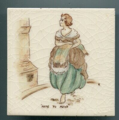 "Handpainted 4""sq tile from the ""London Cries"" series by Packard & Ord c1950"