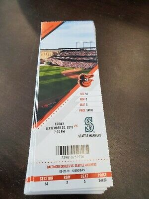 Baltimore Orioles Seattle Mariners MINT Season Ticket 9/20/19 2019 MLB Stub