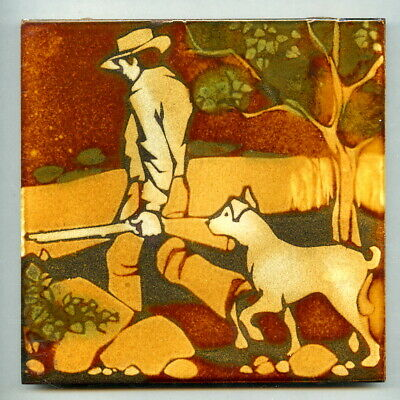 "Screen printed 6""sq tile designed by Mary Liebermann, South Africa, 1975"