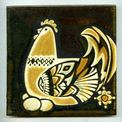 "Screen printed 6""sq tile designed by Mary Liebermann, South Africa, 1986"