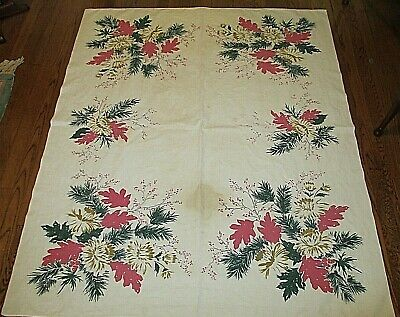 """Vintage 50's Tablecloth 50"""" x 60"""" - Stained, for Crafting, Cutting, Vtg Display"""