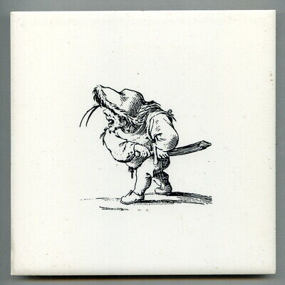"Screen printed 6""sq caricature tile, c1970 Brigand"