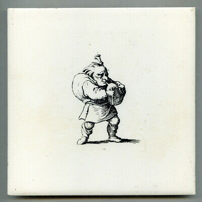 "Screen printed 6""sq caricature tile, c1970 Bagpiper"