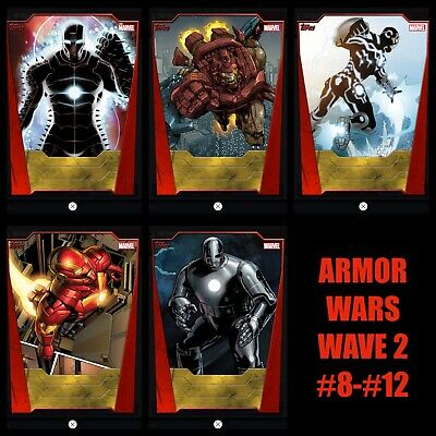 Topps MARVEL COLLECT DIGITAL Card IRON MAN ARMOR WARS Wave 2 SET CARD #8 - #12