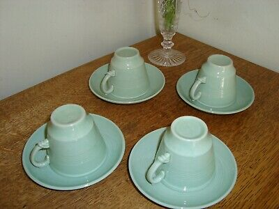 Vintage 1940's BERYL Woods Ware Demitasse Espresso Small Coffee 4 Cups & Saucers