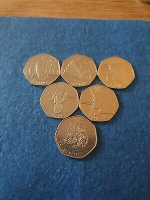 Part Set. London Olympic 2012 Good Circulated 50p Coins. 6 in Total.