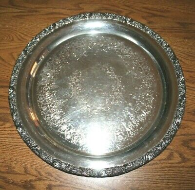 """Webster & Wilcox IS International Silverplate 15""""  Round Tray-Rococo 3272"""