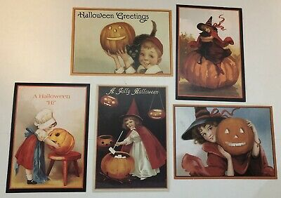 Vintage Halloween Postcard Reproductions Lot of 5