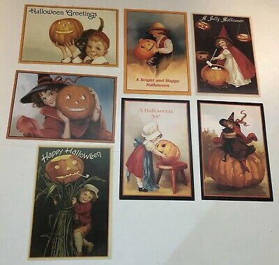 Vintage Halloween Postcard Reproductions Lot of 7