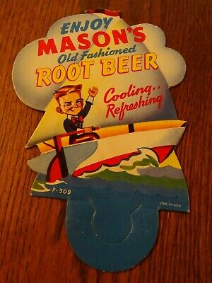 Vintage cardboard soda bottle topper sign enjoy Mason's Root Beer