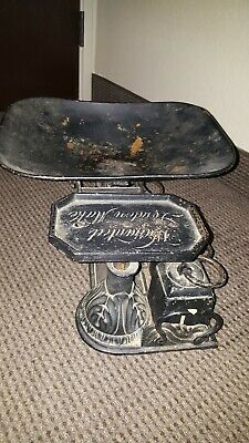 Antique European Warranted London Make Scale With Weights Registered Cast...