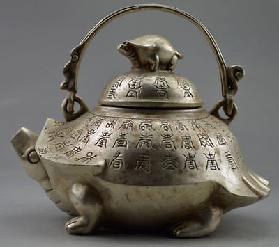 Collectible Decorated Old Handwork Tibet Silver Carved Tortoise Tea Pot