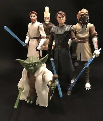 Star Wars Plo Koon Obi Wan Kenobi Yoda Anakin Lot Clone Wars Jedi Figure Lot