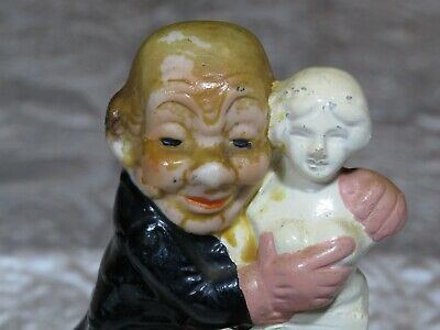 Rare Antique German Porcelain Bisque Figurine Naughty Risque Man and Statue