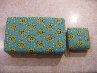 MINT Original 1960's Flower Power Jewelry Box And Matching Alarm Clock Set