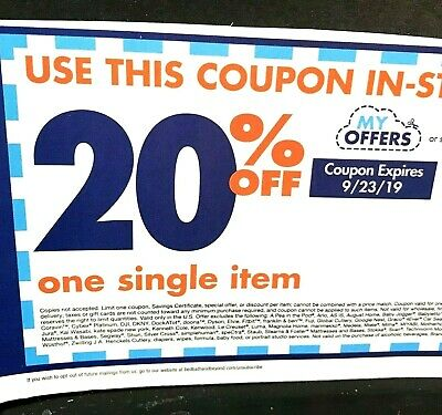 BED BATH & BEYOND Coupon ~ 20% off 1 Item ONLINE ~ Exp 9/23 = Fast Delivery!