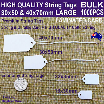 Paper Price TAG String Swing TICKET White | BULK 500pcs | Large | AUSSIE Seller