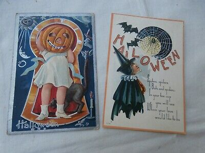 2 Antique Halloween Postcards -Witch and Spider Web, Child with Pumpkin Head