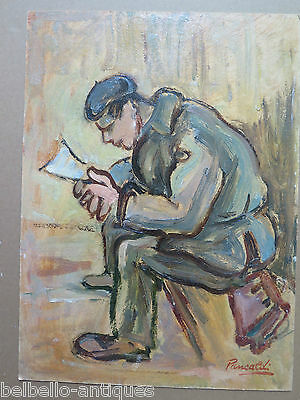 Antique Painting to Oil on board Painting Original Signed Portrait Male p3