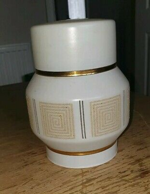 Retro 1970'S Era Glass Frosted And Gold Design Lampshade / Mid Century Shade