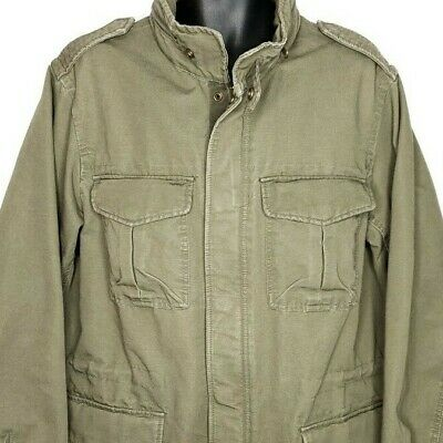 GAP Military Field Utility Jacket Roll Up Hood Army Coat Olive Green Size Large
