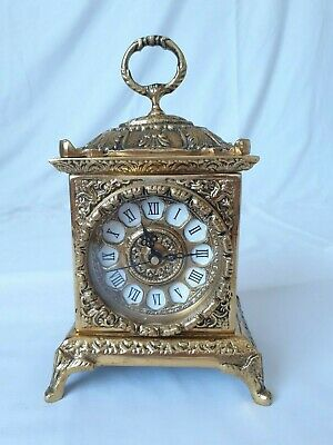 Very Heavy 2kg Ornate Cast Brass Mantel Carriage Clock - Spares or Repair