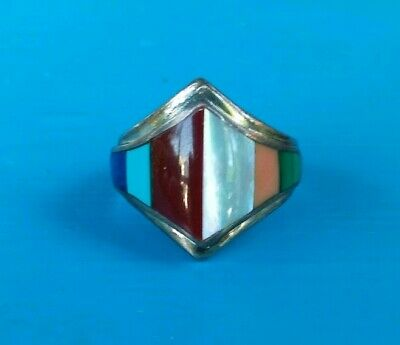 Navajo Sterling Silver Ring Signed LUC Vtg Multi Stone Inlay, Chunky Unisex Ring