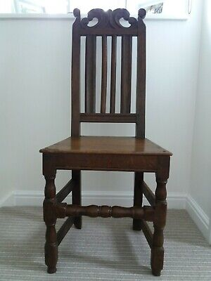 Carved Oak Antique Dining Hall Chair Victorian Gothic c.19th Century