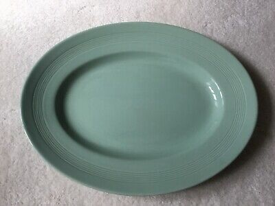 Vintage Woods Ware Green Beryl Oval Steak Plate Server 11 x 8.5 inches VGC
