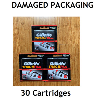 Gillette Trac II/2 PLUS Razor Blade Shaver Replacement Cartridges Refill DAMAGED