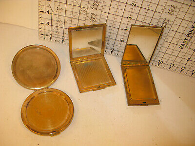 Lot Of 3 Vintage Powder Compacts Mirrors Makeup
