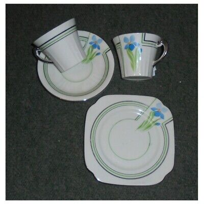 2 x ROSLYN CHINA ~ ART DECO TRIOS + CAKE PLATE ~ HAND PAINTED