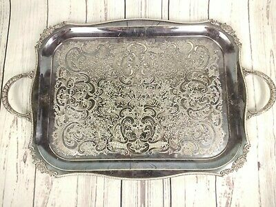 Vintage Viners Large Silver Plated Serving Tray Chased Alpha Plate Heavy