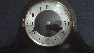 Nice antique Napoleon Hat style wooden mantel clock, Westminster Chimes, GWO