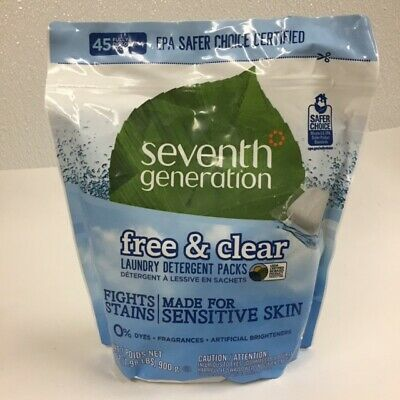 Seventh Generation Free & Clear Laundry Detergent Packs Sensitive Skin 45 pack