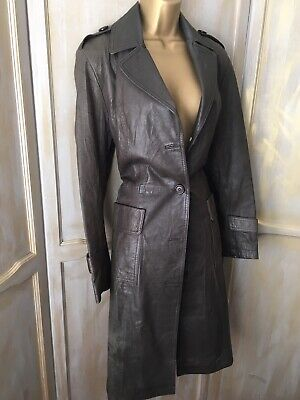 Louche Dark Chocolate Brown Real Leather Long Retro Trench Duster Coat M 8 10
